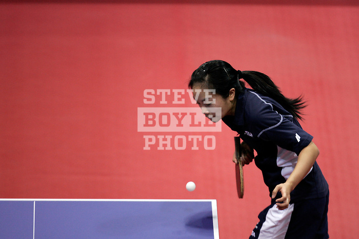 Judy Hugh serves the ball during her match on January 12, 2008 as part of the US Olympic Trials for table tennis at Drexel University in Philadelphia, Pennsylvania.