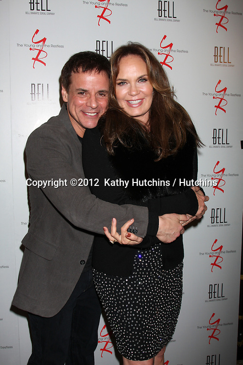 LOS ANGELES - MAR 16:  Christian LeBlanc; Catherine Bach arrives at the Young & Restless 39th Anniversary Party hosted by the Bell Family at the Palihouse on March 16, 2012 in West Hollywood, CA