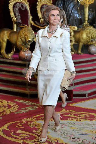 Queen Sofia of Spain attends the Royal Palace reception on the National Military Parade.October 12,2012.(ALTERPHOTOS/Pool) /NortePhotoAgency /MediaPunch Inc. ***FOR USA ONLY***