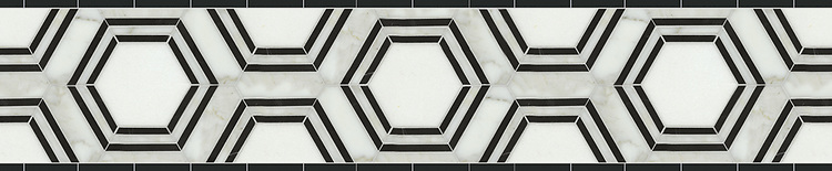 """8 9/16"""" Pembroke border, a waterjet mosaic shown in honed Calacatta Tia, honed Thassos, and honed Nero Marquina, is part of the Silk Road® collection by New Ravenna."""