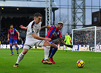 Burnley's Sam Vokes vies for possession with Crystal Palace's Patrick van Aanholt<br /> <br /> Photographer Ashley Crowden/CameraSport<br /> <br /> The Premier League - Crystal Palace v Burnley - Saturday 13th January 2018 - Selhurst Park - London<br /> <br /> World Copyright &copy; 2018 CameraSport. All rights reserved. 43 Linden Ave. Countesthorpe. Leicester. England. LE8 5PG - Tel: +44 (0) 116 277 4147 - admin@camerasport.com - www.camerasport.com