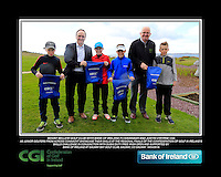 Mount Bellew Golf Club Boys with PJ Kavanagh from Bank of Ireland and Justin O'Byrne from CGI.<br /> Junior golfers from across connacht practicing their skills at the regional finals of the Dubai Duty Free Irish Open Skills Challenge supported by Bank of Ireland at Galway Bay golf club, Galway, Co Galway. 2/04/2016.<br /> Picture: Golffile | Fran Caffrey<br /> <br /> <br /> All photo usage must carry mandatory copyright credit (© Golffile | Fran Caffrey)