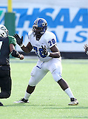 Armwood Hawks lineman Kevin McCoy #78 in pass protection during the second quarter of the Florida High School Athletic Association 6A Championship Game at Florida's Citrus Bowl on December 17, 2011 in Orlando, Florida.  The score at halftime is Armwood 16 - Miami Central 14.  (Photo By Mike Janes Photography)