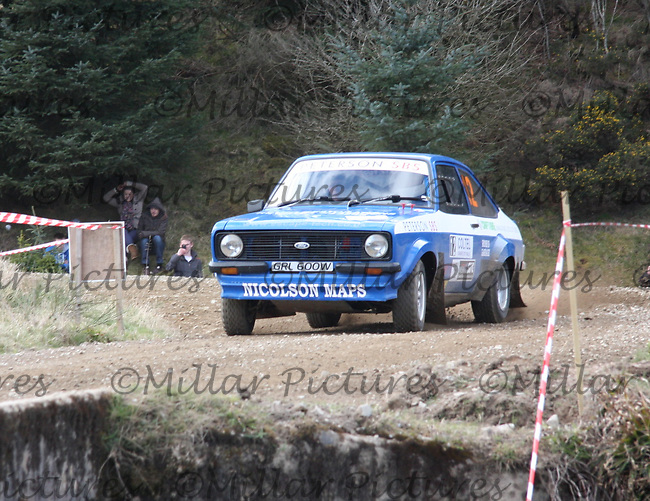 Calum MacKenzie / Alan Clark in a MkII Ford Escor at Junction 3 on John Lawrie Group Special Stage 5 Fettersso 2 of the Coltel Granite City Rally 2012 which was based at the Thainstone Agricultural Centre, Inverurie.