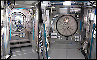 Two views from inside the airlock. At left is the view towards the Command Module. At right is the airlock door outside the ship.