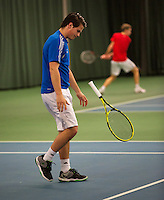 Rotterdam, The Netherlands, 15.03.2014. NOJK 14 and 18 years ,National Indoor Juniors Championships of 2014, Alexander Popping (NED) is frustrated<br /> Photo:Tennisimages/Henk Koster