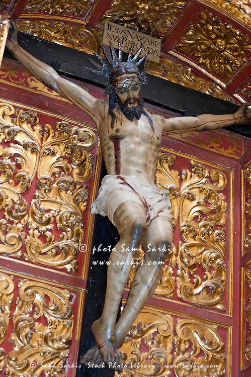Statue of the crucifixion inside the Catedral de Cordoba, a former medieval mosque, Cordoba, Andalusia, Spain.