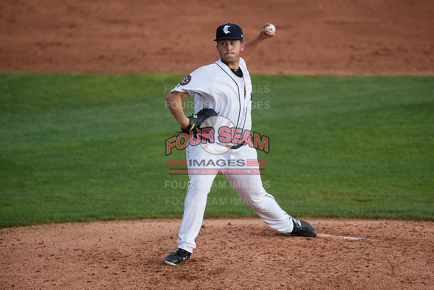 Connecticut Tigers starting pitcher Kacey Murphy (49) delivers a pitch during a game against the Lowell Spinners on August 26, 2018 at Dodd Stadium in Norwich, Connecticut.  Connecticut defeated Lowell 11-3.  (Mike Janes/Four Seam Images)