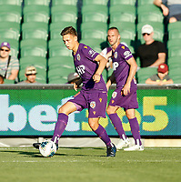 11th January 2020; HBF Park, Perth, Western Australia, Australia; A League Football, Perth Glory versus Adelaide United; Kristian Popovic of Perth Glory passes the ball through midfield - Editorial Use