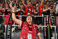 Orlando, FL - Saturday October 14, 2017: Portland Thorns FC supporters celebrate during the NWSL Championship match between the North Carolina Courage and the Portland Thorns FC at Orlando City Stadium.