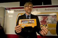 Roma 3 Dicembre 2015<br /> Giubileo, i nuovi biglietti dell'Atac per i pellegrini.<br /> Presentati i biglietti Atac da collezione per il Giubileo, con una serie speciale di quattro BIT raffiguranti Papa Francesco e contenuti in una custodia souvenir. Presentata anche  anche la RomeJubilee, la card in tiratura limitata con l'immagine del Pontefice,che consentir&agrave; agli acquirenti di caricare tutta l&rsquo;offerta turistica di Atac, dal ticket giornaliero a quello settimanale.<br /> Nella foto: Emilio Cera, direttore marketing di Atac.<br /> Rome December 3, 2015<br /> Jubilee, the new ATAC tickets for pilgrims.<br /> Presented  collectible tickets Atac  (Tramways Company and Coach of the Municipality of Rome) for the Jubilee, with a special series of four BIT depicting Pope Francis and contained in a case souvenirs. Also presented also RomeJubilee, the limited edition card with the image of the Pope, which allow buyers to load all the tourist offer of Atac, from ticket daily to weekly. <br /> Pictured: Emilio Cera, director of marketing at Atac.