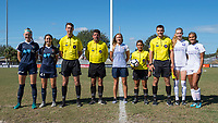 Sanford, FL - Saturday Oct. 14, 2017:  Team captains, officials and a US Development Academy Regional coordinator pose for a photo prior to a US Soccer Girls' Development Academy match between Orlando Pride and NC Courage at Seminole Soccer Complex. The Courage defeated the Pride 3-1.