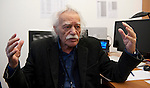 Belgium, Brussels - December 12, 2014 -- MEP Emmanouil (Manolis) GLEZOS, Member of the European Parliament / Confederal Group of the European United Left - Nordic Green Left, from Greece (Coalition of the Radical Left), born in 1922 and oldest MEP, during an interview in his Brussels' office -- Photo © HorstWagner.eu