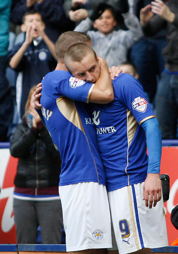 Leicester City's Jamie Vardy (R)celebrates scoring his sides second goal <br /> <br /> Photo by Jack Phillips/CameraSport<br /> <br /> Football - The Football League Sky Bet Championship - Leicester City v Bournemouth - Saturday 26th October 2013 - King Power Stadium - Leicester<br /> <br /> &copy; CameraSport - 43 Linden Ave. Countesthorpe. Leicester. England. LE8 5PG - Tel: +44 (0) 116 277 4147 - admin@camerasport.com - www.camerasport.com