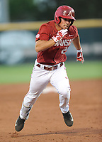 NWA Democrat-Gazette/ANDY SHUPE<br />Arkansas center fielder Dominic Fletcher heads to third after hitting a three-run triple against Memphis Tuesday, April 18, 2017, during the third inning at Baum Stadium. Visit nwadg.com/photos to see more photographs from the game.
