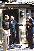 President Anwar al-Sadat of Egypt, right, and Prime Minister Menachem Begin of Israel, center, and United States President Jimmy Carter emerge from Aspen Lodge at Camp David, the US presidential retreat near Thurmont, Maryland following a meeting during their summit to discuss a peace treaty between Egypt and Israel in September, 1978..Credit: White House via CNP