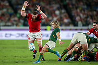 27th October 2019, Oita, Japan;  Faf de Klerk of South Africa kicks as Jake Ball of Wales attempts to block during the 2019 Rugby World Cup semi-final match between Wales and South Africa at International Stadium Yokohama in Kanagawa, Japan on October 27, 2019.  - Editorial Use