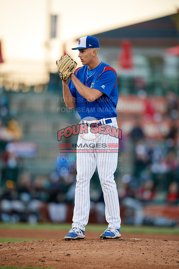 South Bend Cubs starting pitcher Bryan Hudson (52) looks in for the sign during a game against the Clinton LumberKings on May 5, 2017 at Four Winds Field in South Bend, Indiana.  South Bend defeated Clinton 7-6 in nineteen innings.  (Mike Janes/Four Seam Images)