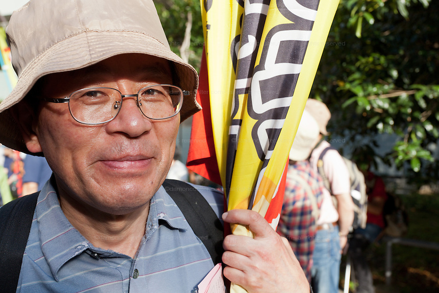 Anti nuclear protester at a rally in Hibiya Park. Tokyo, Japan Sunday June 2nd 2013