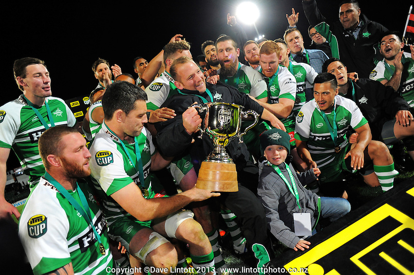 The Turbos celebrate with centurion after winning the ITM Cup rugby chamiponship final match between Manawatu Turbos and Hawkes Bay Magpies at FMG Stadium, Palmerston North, New Zealand on Friday, 24 October 2014. Photo: Dave Lintott / lintottphoto.co.nz