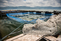 Fish farm in the middle of Lake Toba (Danau Toba), North Sumatra, Indonesia