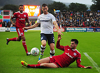 Preston North End's Marnick Vermijl is tackled by Accrington Stanley's Liam Nolan<br /> <br /> Photographer Kevin Barnes/CameraSport<br /> <br /> The Carabao Cup - Accrington Stanley v Preston North End - Tuesday 8th August 2017 - Crown Ground - Accrington<br />  <br /> World Copyright &copy; 2017 CameraSport. All rights reserved. 43 Linden Ave. Countesthorpe. Leicester. England. LE8 5PG - Tel: +44 (0) 116 277 4147 - admin@camerasport.com - www.camerasport.com
