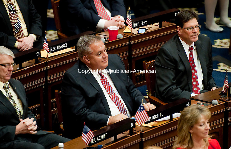 HARTFORD,  CT-010715JS10- Rep. Eric Berthel, R-68th, listens as the governor gives his State of the State Address during a joint session of the Connecticut General Assembly in the Hall of the House of Representatives Wednesday at the State Capitol in Hartford. <br />  Jim Shannon Republican-American