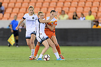 Houston, TX - Saturday July 08, 2017: Allie Long and Cami Privett battle for control of the ball  during a regular season National Women's Soccer League (NWSL) match between the Houston Dash and the Portland Thorns FC at BBVA Compass Stadium.