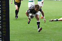 Sunday 19 October 2014<br /> Pictured: Ospreys replacement scrum-half Martin Roberts dives in for a try.<br /> Re: Ospreys v Treviso, Heineken Champions Cup at the Liberty Stadium, Swansea