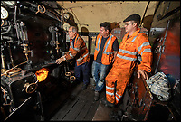 BNPS.co.uk (01202)558833<br /> Pic: PhilYeomans/BNPS<br /> <br /> Skill shortage - Young drivers are desperately needed to learn the ropes from the retiring old hands.<br /> <br /> Growth Industry - Britain's enduring love affair with steam trains has led to a critical shortage of drivers, 56 years after the infamous Beeching Axe was supposed to have fallen.<br /> <br /> More steam train's are running today than at anytime since Dr Beechings drastic cut in 1963 - with over 150 steam heritage railways and museums attracting 13 million visitors a year.<br /> <br /> One of the most popular heritage railways in the country has put out an SOS for steam drivers - as so many of its stalwarts are retiring.<br /> <br /> Swanage Railway in Dorset has 42 steam drivers on their books, but the majority are in their 60s or older and likely to step down in the coming years.<br /> <br /> They need to train up to 40 drivers over the next five years to replace them and meet their expanding service, which attracts over 200,000 visitors each year.<br /> <br /> To fill the void, a group of enthuisastic young volunteers are being taught the skill, a process which can take up to a decade.<br /> <br /> The Heritage Railway Association, which oversees them, says some of their railways have a 'more pressing need for new blood'.