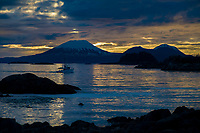 Mount Edegcumbe at sunset, Sitka sound, southeast, Alaska.
