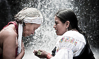 Members of The Pakarinka Sisari Ancestral Wisdom Center near Otavalo, Ecuador,  take part in a ritual honoring water.