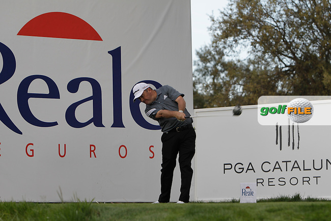 Damien McGrane (IRL) on the 17th tee during Practice Day of The Open De Espana at The PGA Catalunya Resort on Tuesday 13th May 2014.<br /> Picture:  Thos Caffrey / www.golffile.ie