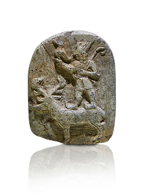 Plaque depicting the Hittite Protector of the wild standing on the back of a deer. Steatite - 14th - 13th century BC - Corum Yenikoy  - Museum of Anatolian Civilisations, Ankara, Turkey. Against a white background