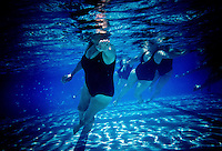 The Aquadettes practice a routine in a swimming pool at Laguna Woods, California. The Aquadettes are a group of women ageing from their early 60s upwards who meet to practice synchronised swimming. Every year, they practice together, they make costumes together, they swim together, and at the end, they perform together.
