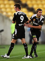 Shane Smeltz is replaced by Adam Kwasnik during the A-League match between Wellington Phoenix and Newcastle Jets at Westpac Stadium, Wellington, New Zealand on Sunday, 4 January 2009. Photo: Dave Lintott / lintottphoto.co.nz