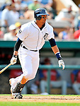 9 March 2011: Detroit Tigers' catcher Victor Martinez in action during a Spring Training game against the Philadelphia Phillies at Joker Marchant Stadium in Lakeland, Florida. The Phillies defeated the Tigers 5-3 in Grapefruit League play. Mandatory Credit: Ed Wolfstein Photo