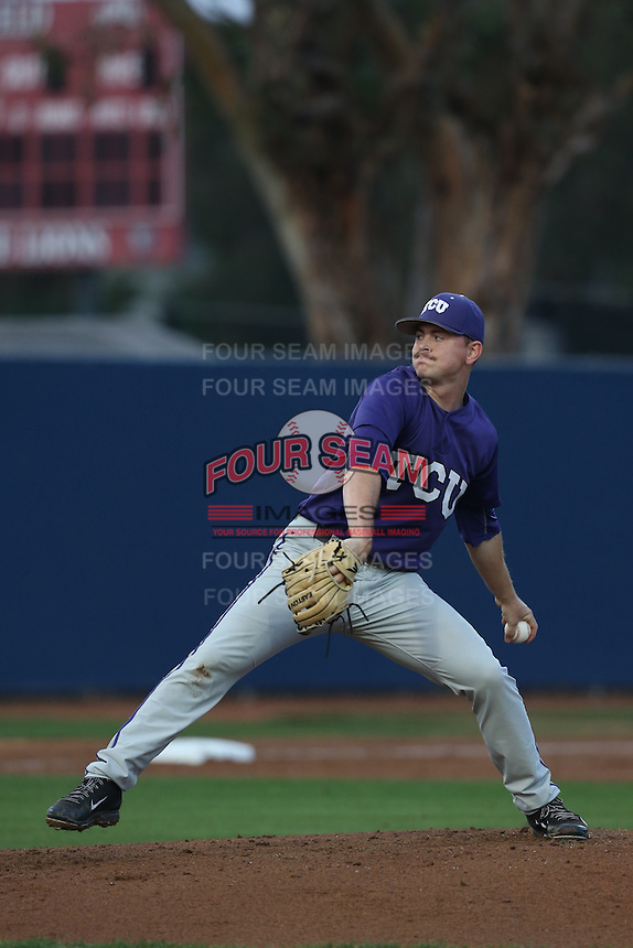 Tyler Alexander (13) of the TCU Horned Frogs pitches during a game against the Loyola Marymount Lions at Page Stadium on March 16, 2015 in Los Angeles, California. TCU defeated Loyola, 6-2. (Larry Goren/Four Seam Images)