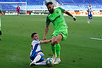 5th July 2020; RCDE Stadium, Barcelona, Catalonia, Spain; La Liga Football, Real Club Deportiu Espanyol de Barcelona versus Leganes;  Siobas is slide tackled by Embarba of Espanyol
