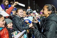 Allston, MA - Saturday, May 07, 2016: Chicago Red Stars forward Christen Press (23) signs autographs after a regular season National Women's Soccer League (NWSL) match at Jordan Field.