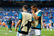 13th September 2017, Santiago Bernabeu, Madrid, Spain; UCL Champions League football, Real Madrid versus Apoel; Carlos Enrique Casemiro (14) Real Madrid Daniel Carvajal Ramos (2) Real Madrid   during warm-up