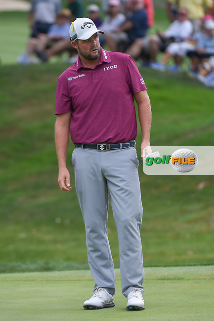 Marc Leishman (AUS) watches his putt on 3 during 4th round of the World Golf Championships - Bridgestone Invitational, at the Firestone Country Club, Akron, Ohio. 8/5/2018.<br /> Picture: Golffile   Ken Murray<br /> <br /> <br /> All photo usage must carry mandatory copyright credit (© Golffile   Ken Murray)