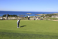 Paul Dunne (IRL) putts on the 2nd green at Spyglass Hill during Thursday's Round 1 of the 2018 AT&amp;T Pebble Beach Pro-Am, held over 3 courses Pebble Beach, Spyglass Hill and Monterey, California, USA. 8th February 2018.<br /> Picture: Eoin Clarke | Golffile<br /> <br /> <br /> All photos usage must carry mandatory copyright credit (&copy; Golffile | Eoin Clarke)