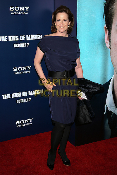 "Sigourney Weaver.The New York Premiere of ""The Ides of March"" at the Ziegfeld Theater, New York, NY, USA..October 5th, 2011.full length dress black tights blue dress hand in pocket.CAP/LNC/TOM.©TOM/LNC/Capital Pictures."