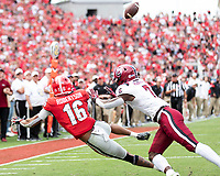ATHENS, GA - OCTOBER 12: Demetris Robertson #16 is unable to reach a pass in overtime during a game between University of South Carolina Gamecocks and University of Georgia Bulldogs at Sanford Stadium on October 12, 2019 in Athens, Georgia.