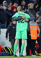 30th October 2019; Anfield, Liverpool, Merseyside, England; English Football League Cup, Carabao Cup, Liverpool versus Arsenal; Liverpool manager Jurgen Klopp celebrates with goalkeeper Caoimhin Kelleher as Liverpool win on penalties - Strictly Editorial Use Only. No use with unauthorized audio, video, data, fixture lists, club/league logos or 'live' services. Online in-match use limited to 120 images, no video emulation. No use in betting, games or single club/league/player publications