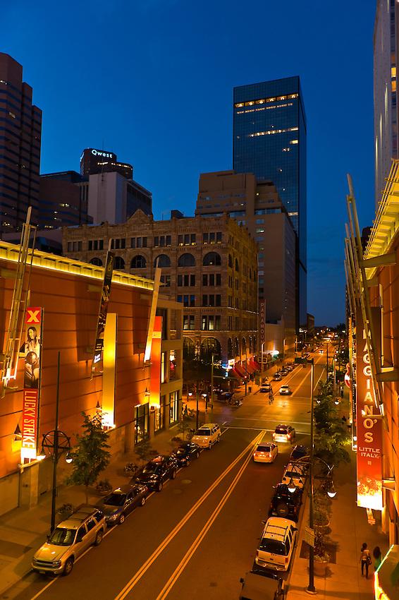 Glenarm Place at twilight, Downtown Denver, Colorado USA