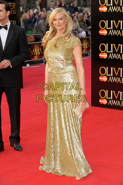 Katherine Kingsley.The Olivier Awards 2012, Royal Opera House, Covent Garden, London, England..April 15th, 2012.full length dress gold sequins sequined  .CAP/PL.©Phil Loftus/Capital Pictures.