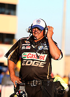 Jul. 26, 2013; Sonoma, CA, USA: NHRA track specialist Lanny Miglizzi for John Force during qualifying for the Sonoma Nationals at Sonoma Raceway. Mandatory Credit: Mark J. Rebilas-