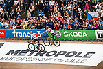 World Champion Peter SAGAN (SVK) of Bora-Hansgrobe wins the 2018 Paris-Roubaix, 2nd place for Silvan DILLIER (SUI) of AG2R La Mondiale during the 2018 Paris-Roubaix race, Velodrome Roubaix, France, 8 April 2018, Photo by Thomas van Bracht / PelotonPhotos.com | All photos usage must carry mandatory copyright credit (Peloton Photos | Thomas van Bracht)